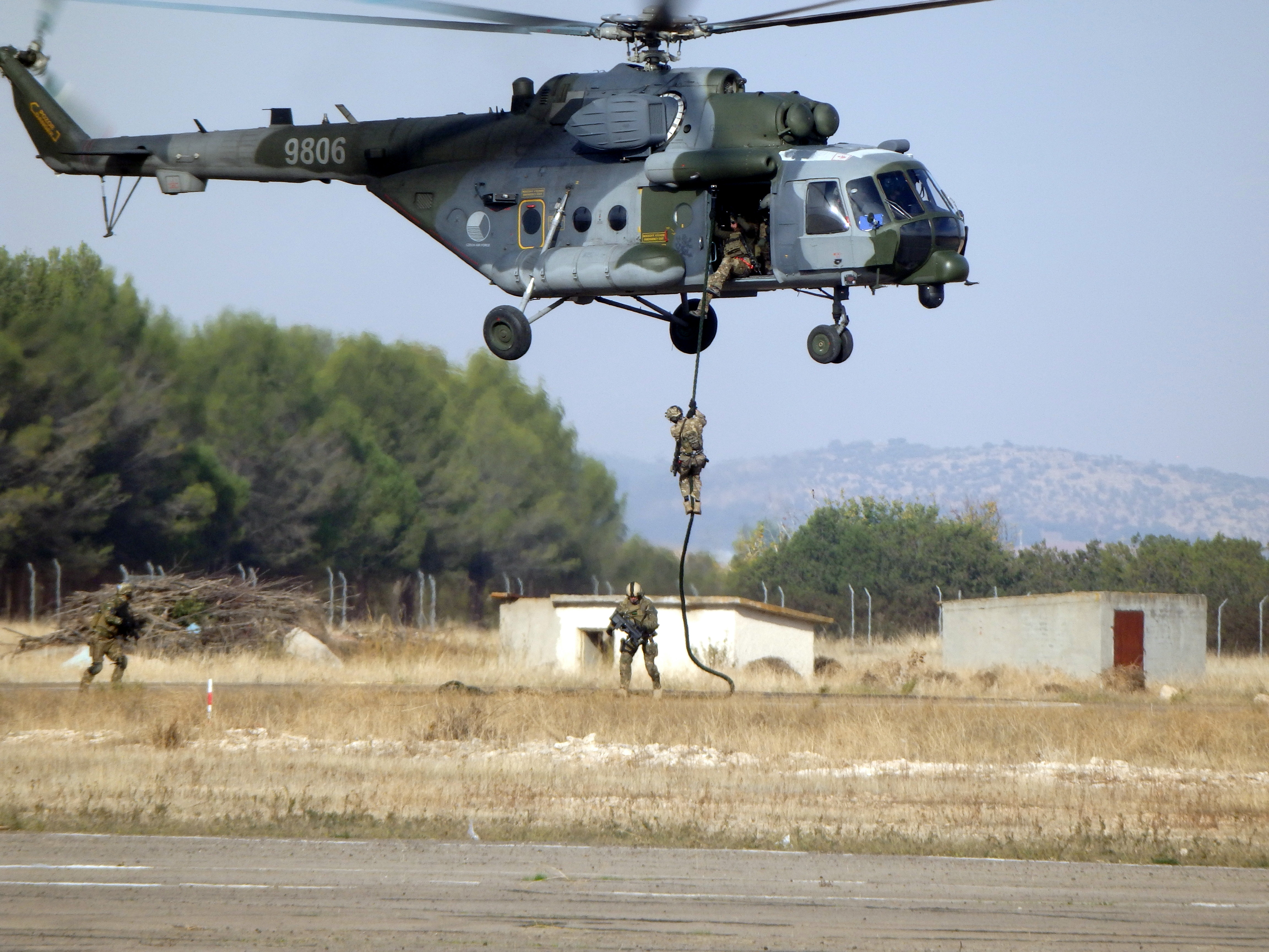 NATO forces conduct fast rope insertion