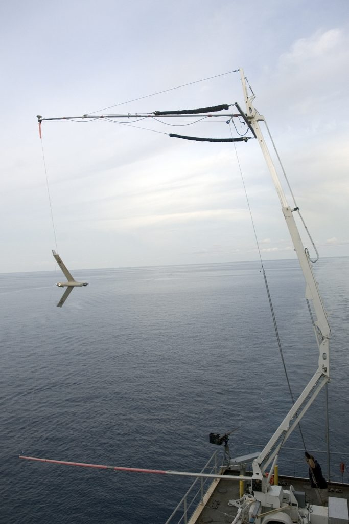 The ScanEagle is recovered using the patented SkyHook recovery system