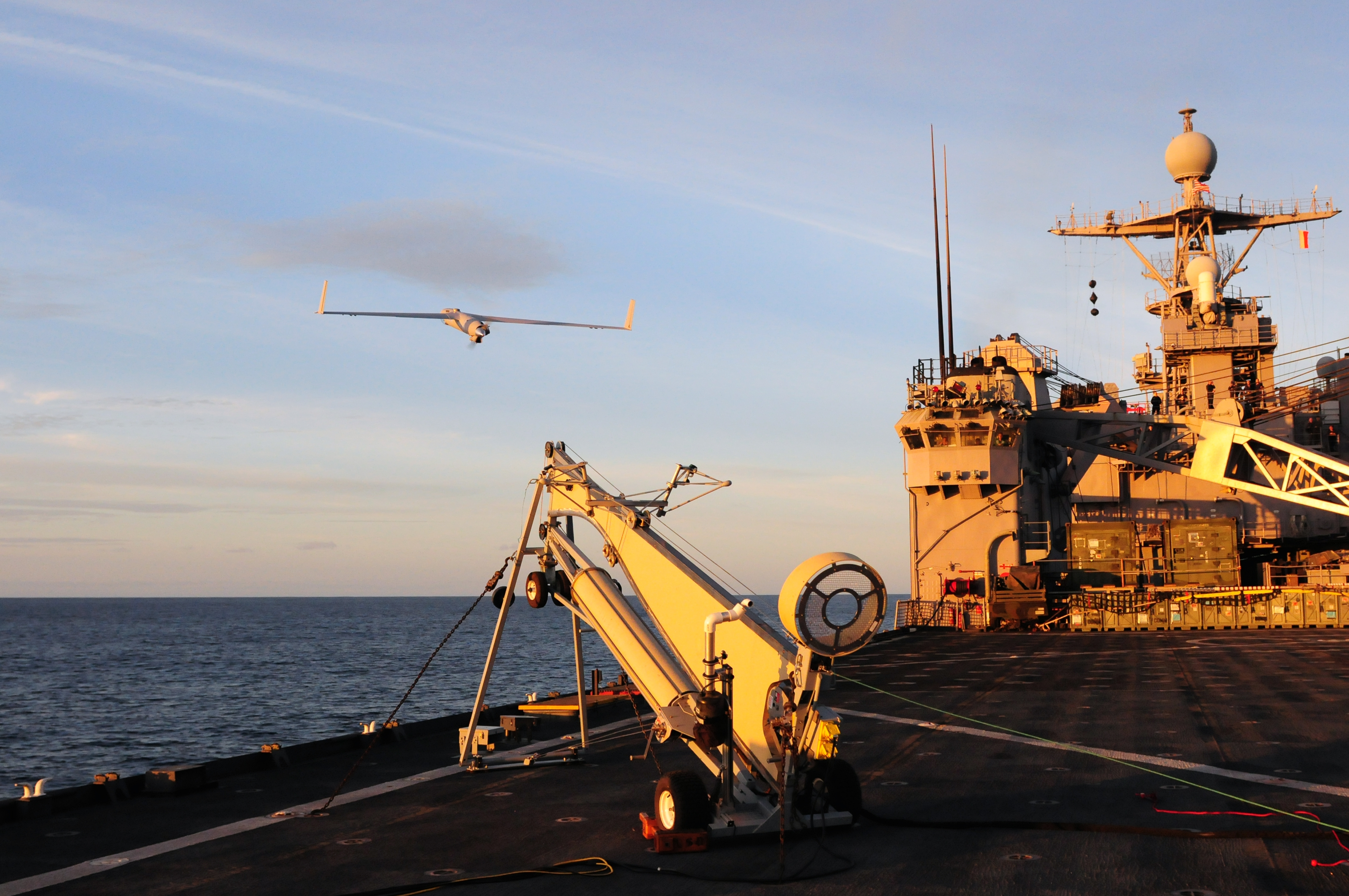 The ScanEagle is launched autonomously via a pneumatic catapult