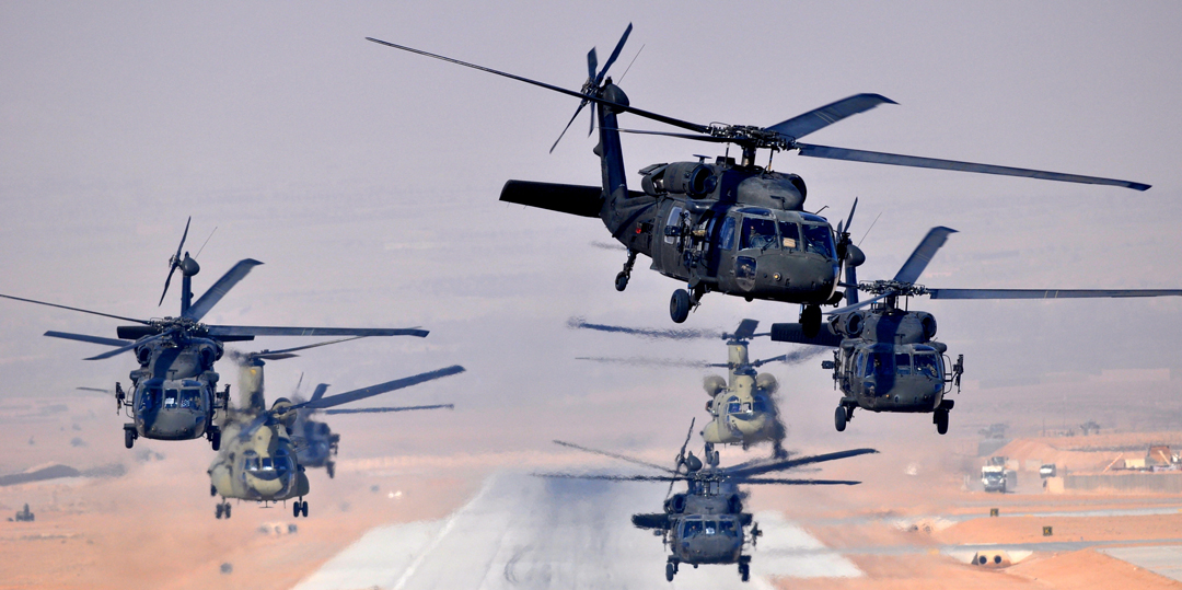Six US Army UH-60Ls and two CH-47Fs