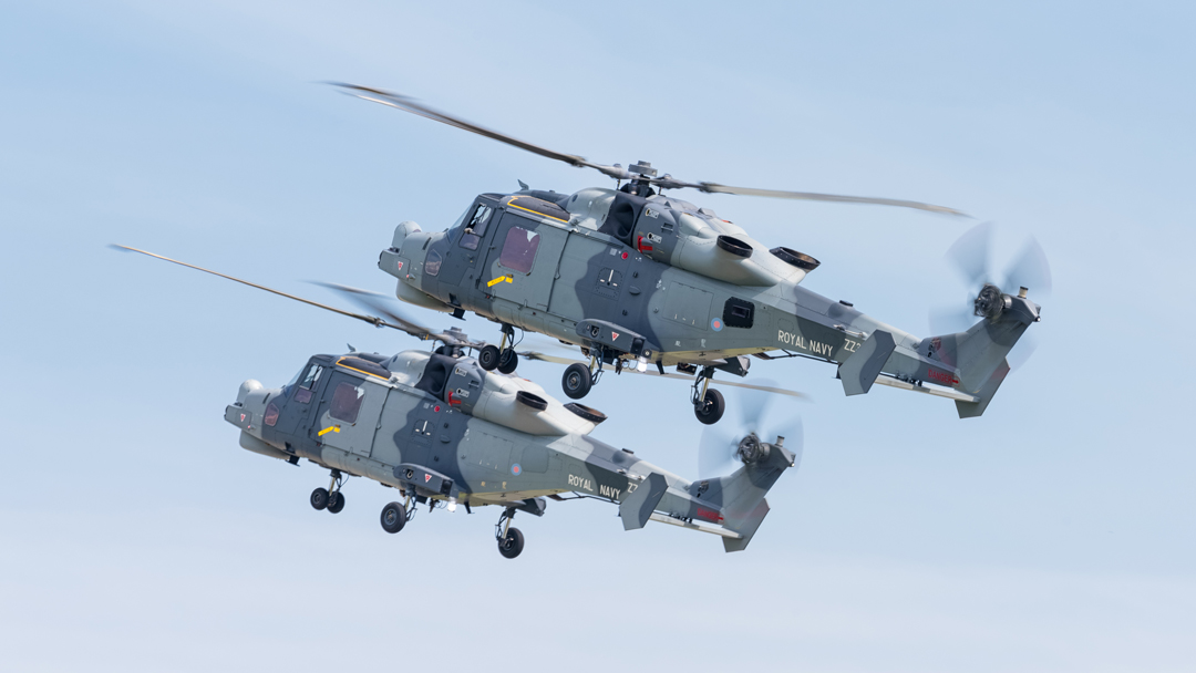 Royal Navy Wildcat HMA.2 naval support helicopters