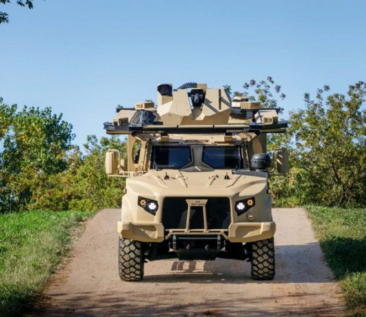 Samson RWS Dual with M230LF and Trophy Light active protection system on Oshkosh Defense JLTV