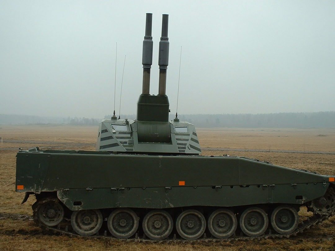 AMOS is a turret-mounted 120mm mortar