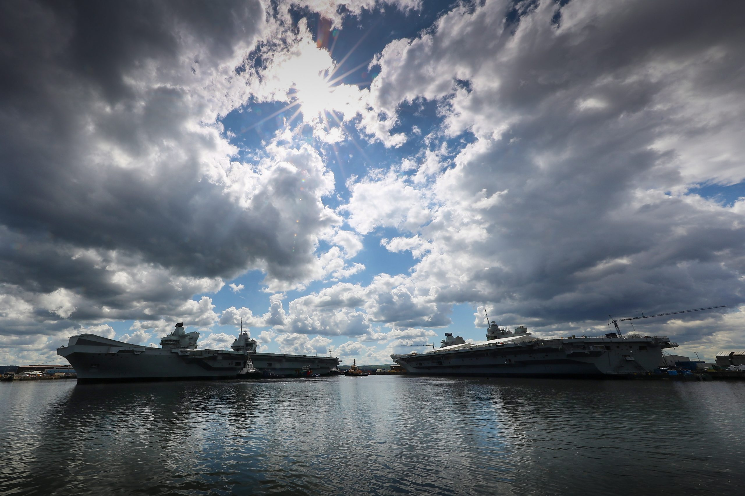 HMS Queen Elizabeth (left) and HMS Prince of Wales (right)