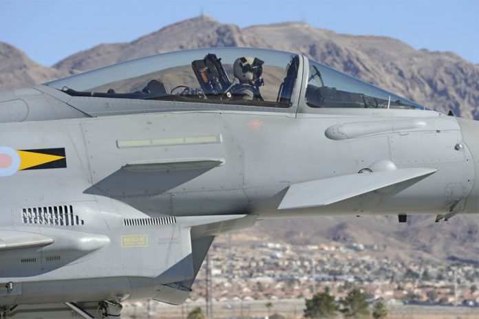 RAF Typhoon Eurofighter at the US Exercise Red Flag 2014.
