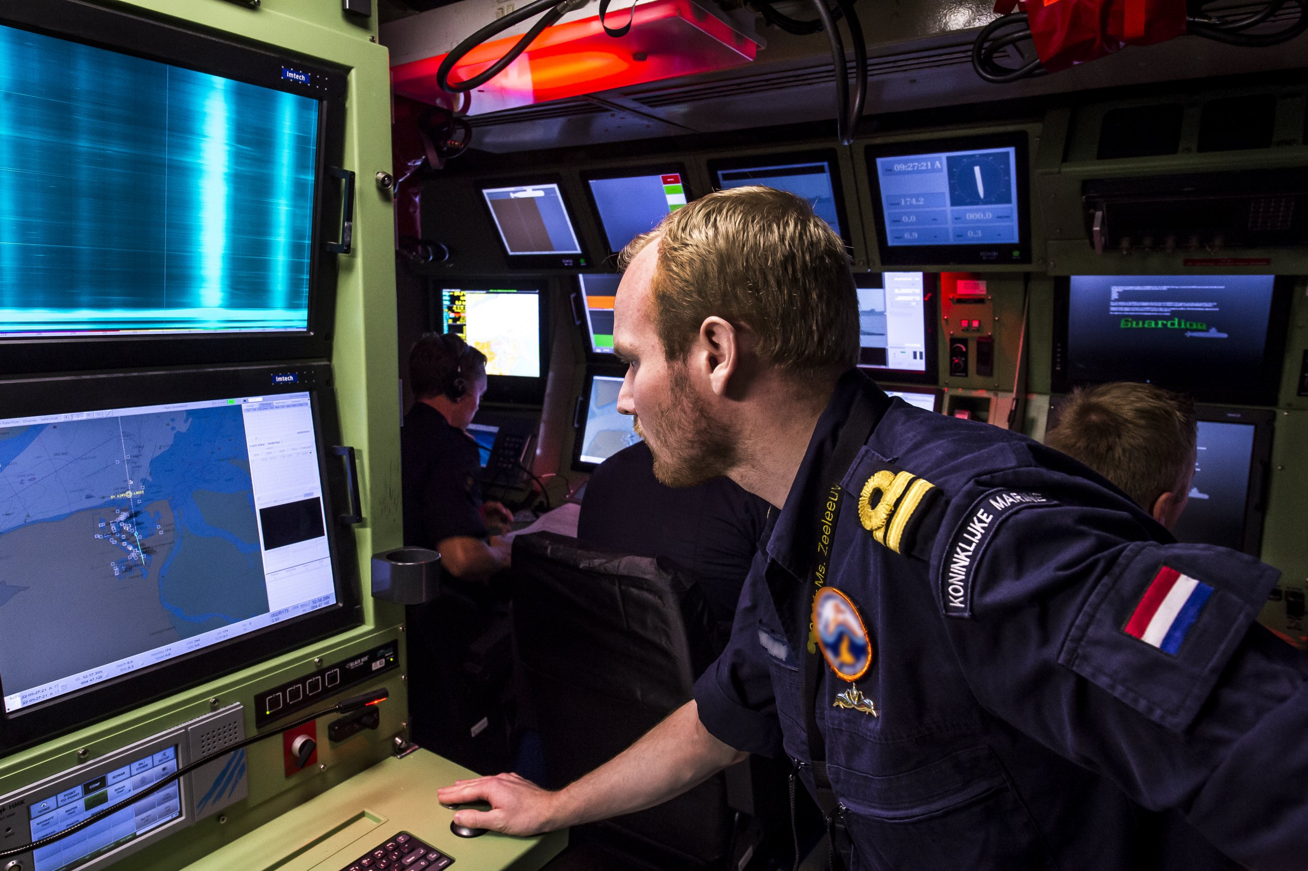 An officer onboard second-in-class Walrus boat HNLMS Zeeleeuw