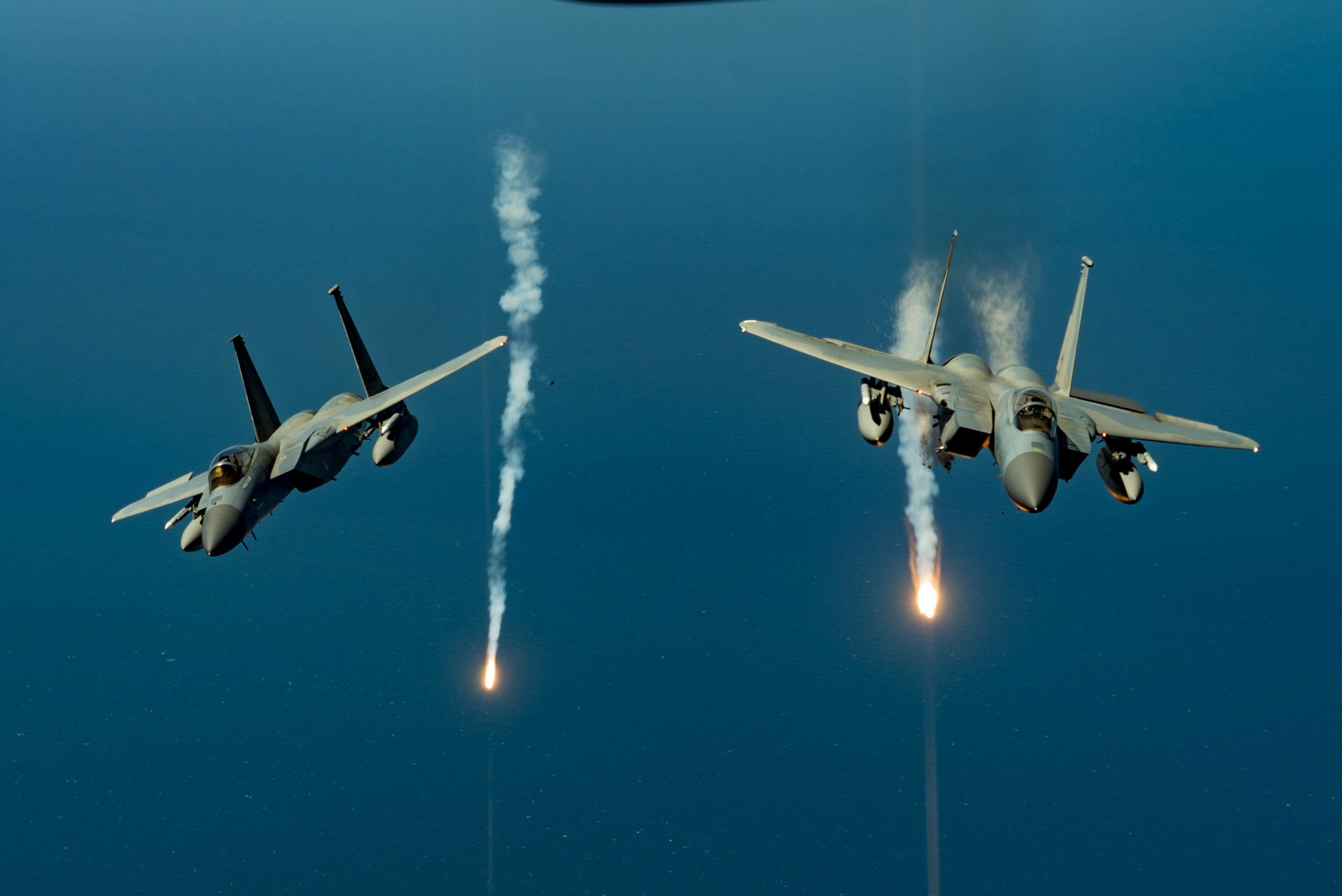 F-15 Eagles fire flares during exercise Nexus Dawn